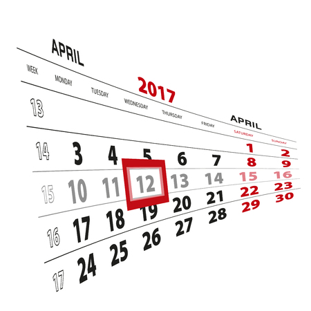 mon 12: 12 April highlighted on calendar 2017. Week starts from Monday. Vector Illustration.