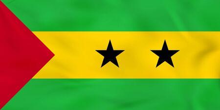 Sao Tome and Principe waving flag. Sao Tome and Principe national flag background texture. Vector illustration.