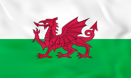 Wales waving flag. Wales national flag background texture. Vector illustration.
