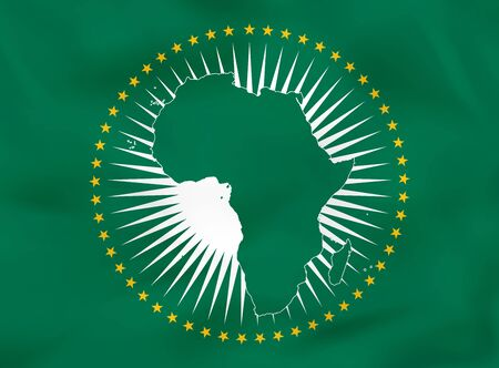 African Union waving flag. African Union national flag background texture. Vector illustration. 矢量图像