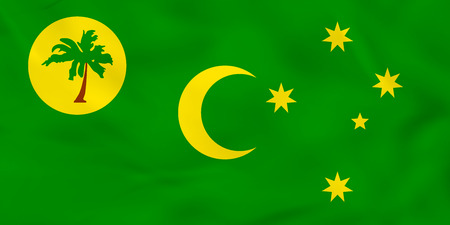 Cocos Islands waving flag. Cocos Islands national flag background texture. Vector illustration.