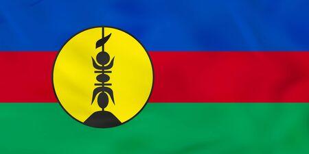 New Caledonia waving flag. New Caledonia national flag background texture. Vector illustration.