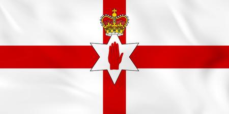 Northern Ireland waving flag. Northern Ireland national flag background texture. Vector illustration.