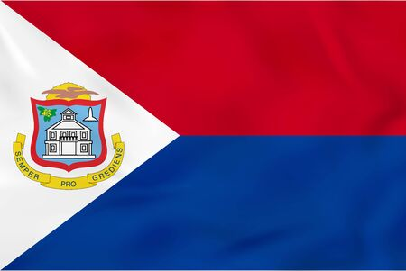 flagstaff: Sint Maarten waving flag. Sint Maarten national flag background texture. Vector illustration.