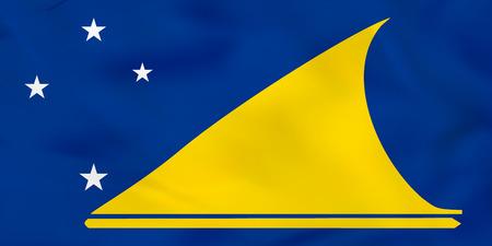 tokelau: Tokelau waving flag. Tokelau national flag background texture. Vector illustration.