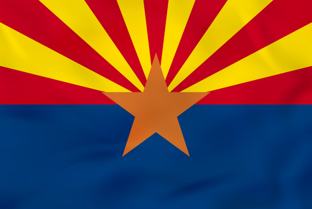 Arizona waving flag. Arizona state flag background texture.Vector illustration. Illustration