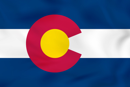 Colorado waving flag. Colorado state flag background texture.Vector illustration.