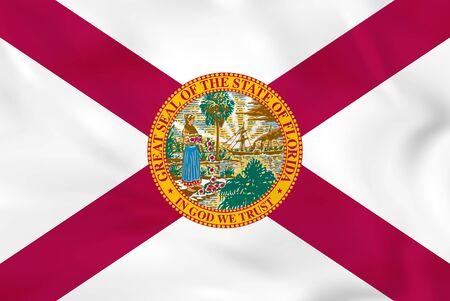 Florida waving flag. Florida state flag background texture.Vector illustration.