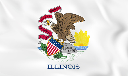 Illinois waving flag. Illinois state flag background texture.Vector illustration.