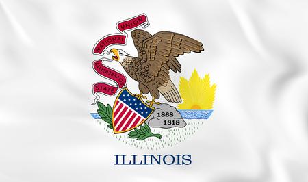 Illinois waving flag. Illinois state flag background texture.Vector illustration.