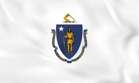 Massachusetts waving flag. Massachusetts state flag background texture.Vector illustration. Illustration