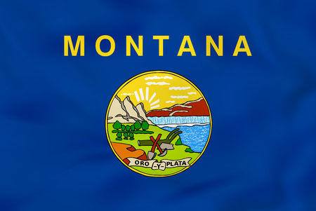 Montana waving flag. Montana state flag background texture.Vector illustration.