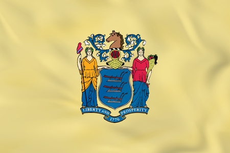 New Jersey waving flag. New Jersey state flag background texture.Vector illustration.