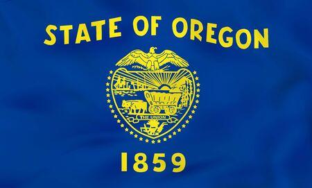 Oregon waving flag. Oregon state flag background texture.Vector illustration. Illustration