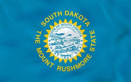 South Dakota waving flag. South Dakota state flag background texture.Vector illustration.