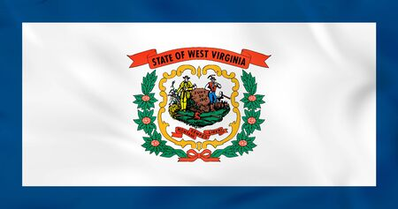 West Virginia waving flag. West Virginia state flag background texture.Vector illustration. Ilustrace