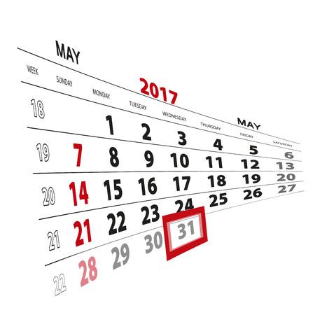 31th: May 31, highlighted on 2017 calendar. Vector Illustration. Illustration