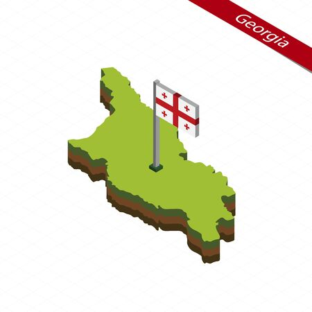 Isometric map and flag of Georgia. 3D isometric shape of Georgia. Vector Illustration.