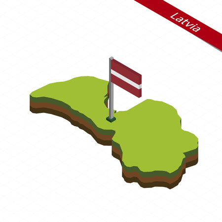 Isometric map and flag of Latvia. 3D isometric shape of Latvia. Vector Illustration.