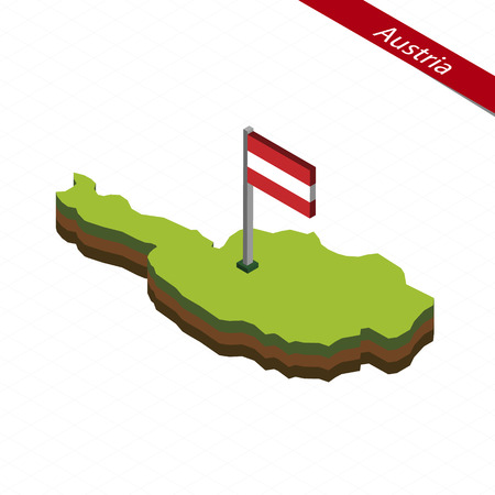 Isometric map and flag of Austria. 3D isometric shape of Austria. Vector Illustration. Illustration