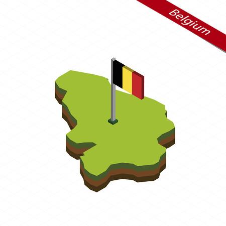 Isometric map and flag of Belgium. 3D isometric shape of Belgium. Vector Illustration. Çizim