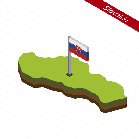 Isometric map and flag of Slovakia. 3D isometric shape of Slovakia. Vector Illustration.