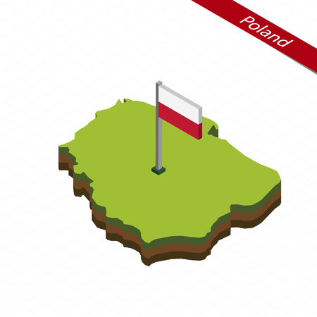 Isometric map and flag of Poland. 3D isometric shape of Poland. Vector Illustration.