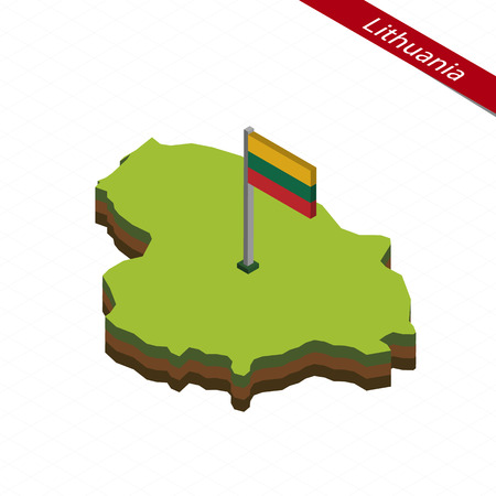 Isometric map and flag of Lithuania. 3D isometric shape of Lithuania. Vector Illustration. Illustration