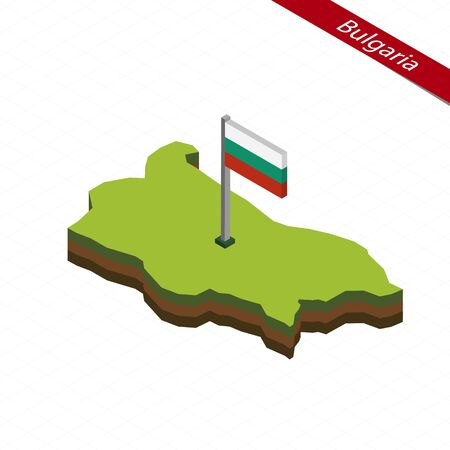 Isometric map and flag of Bulgaria. 3D isometric shape of Bulgaria. Vector Illustration.