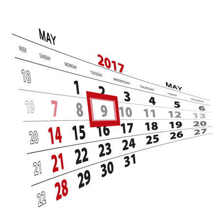 May 9, highlighted on 2017 calendar. Vector Illustration.