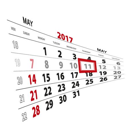 May 11, highlighted on 2017 calendar. Vector Illustration.