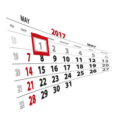 May 1, highlighted on 2017 calendar. Vector Illustration. Illustration