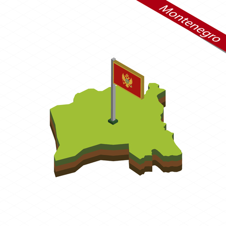 Isometric map and flag of Montenegro. 3D isometric shape of Montenegro. Vector Illustration.