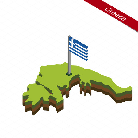 Isometric map and flag of Greece. 3D isometric shape of Greece. Vector Illustration.