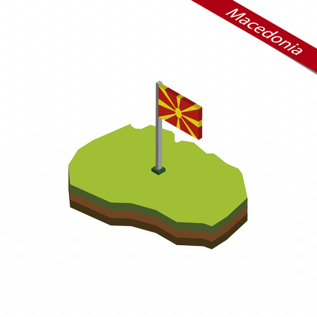 Isometrische Karte und Flagge von Mazedonien. 3D isometrische Form von Mazedonien. Vektor-Illustration.