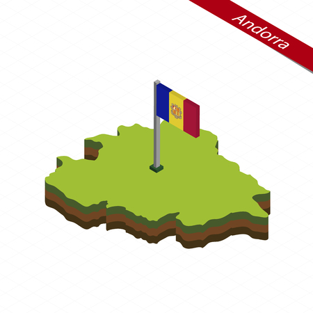 Isometric map and flag of Andorra. 3D isometric shape of Andorra. Vector Illustration.