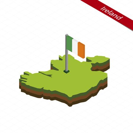 Isometric map and flag of Ireland. 3D isometric shape of Ireland. Vector Illustration.
