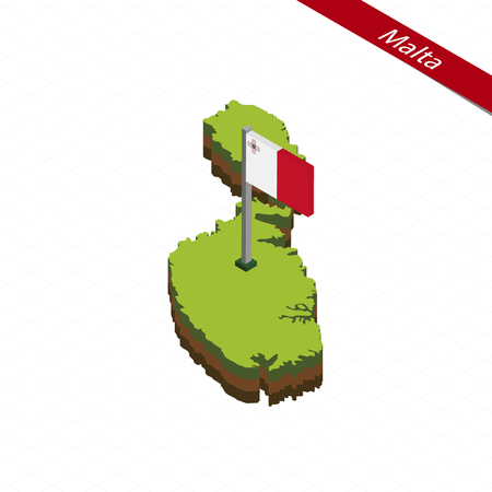 Isometric map and flag of Malta. 3D isometric shape of Malta. Vector Illustration.