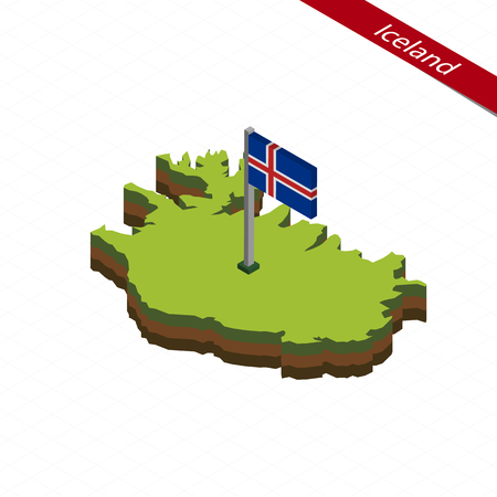 Isometric map and flag of Iceland. 3D isometric shape of Iceland. Vector Illustration.