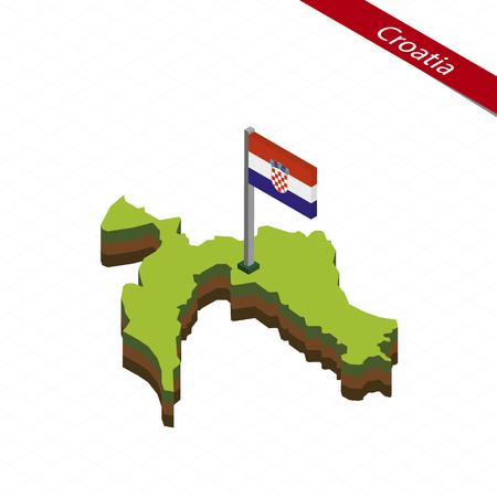 Isometric map and flag of Croatia. 3D isometric shape of Croatia. Vector Illustration. Illustration