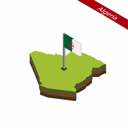 Isometric map and flag of Algeria. 3D isometric shape of Algeria. Vector Illustration. Illustration