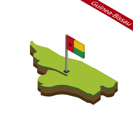 Isometric map and flag of Guinea-Bissau. 3D isometric shape of Guinea-Bissau. Vector Illustration. Çizim