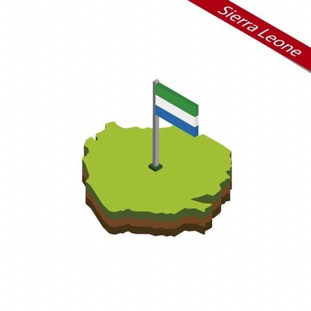 Isometric map and flag of Sierra Leone. 3D isometric shape of Sierra Leone. Vector Illustration.