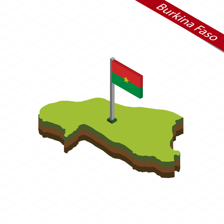 Isometric map and flag of Burkina Faso. 3D isometric shape of Burkina Faso. Vector Illustration.