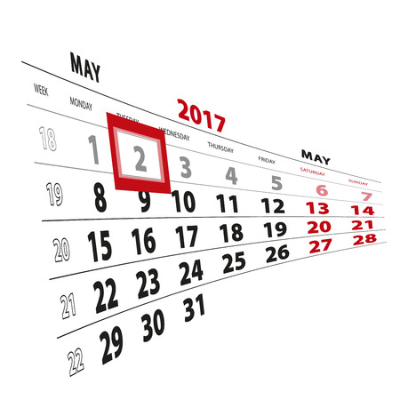 2 May highlighted on calendar 2017. Week starts from Monday. Vector Illustration.