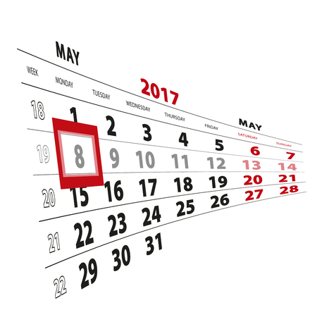 8 May highlighted on calendar 2017. Week starts from Monday. Vector Illustration.
