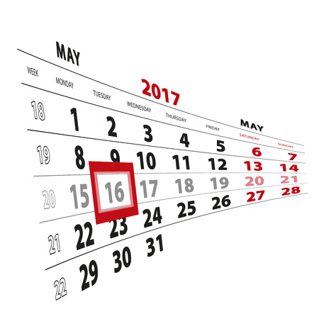 16 May highlighted on calendar 2017. Week starts from Monday. Vector Illustration.