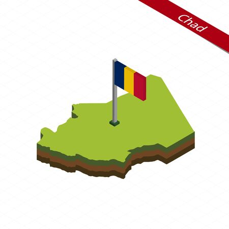 Isometric map and flag of Chad. 3D isometric shape of Chad. Vector Illustration. Illustration