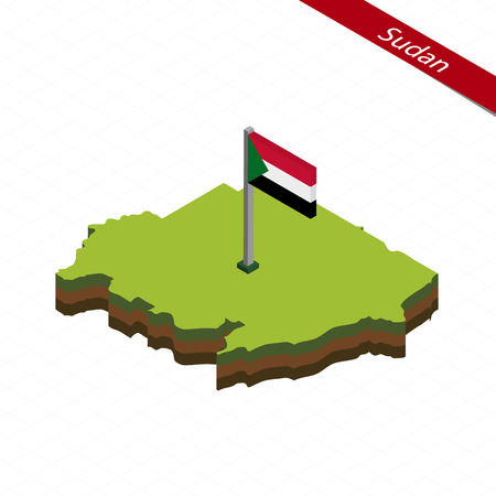 Isometric map and flag of Sudan. 3D isometric shape of Sudan. Vector Illustration.