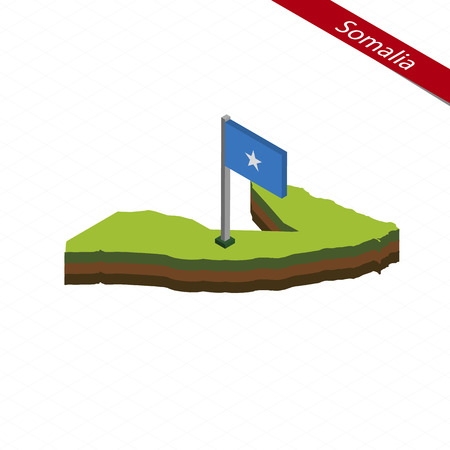Isometric map and flag of Somalia. 3D isometric shape of Somalia. Vector Illustration.
